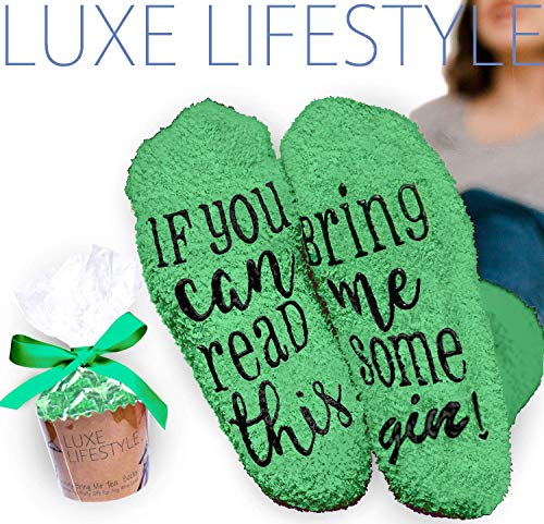 "LUXE LIFESTYLE ""If You Can Read This Bring Me Some Gin!"" - Funny Socks..."