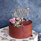21pcs Adorno de Tartas Feliz Cumplaños Madera Decoración de Tarta de Cumpleaños Toppers de Tarta Happy Birthday Cake Toppers para Tartas Cupcakes de Fiesta de Cumpleaños