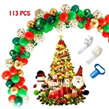 Christmas Balloon Arch & Garland Kit, 113pcs 16Ft Long Green Red Gold and confetti Latex Balloons with Tying Tool, Balloon Strip Tape and Glue Dots, Great for Wedding New Year Birthday Baby Shower Carnival Party Decoration Supplies