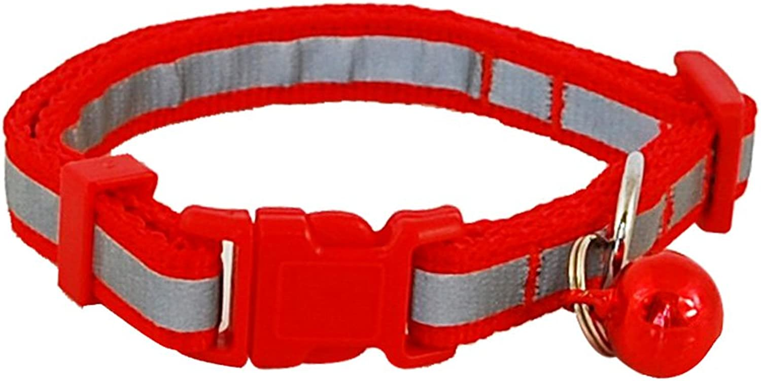 Didog Night Safety Reflective Nylon Small Dog Puppy Collar Adjustable (XS Neck for 812 , Red)