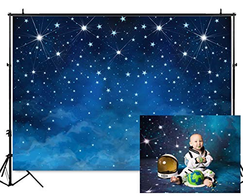 Mehofoto Starry Night Backdrops Blue Night Sky Photo Background Birthday Party Banner Supplies 7x5ft Vinyl Shining Star Newborn Baby Portrait Photo Booth Backdrop