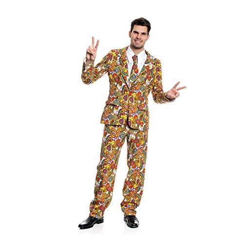Kostümplanet® Hippie Kostüm Blümchen Anzug Herren witziges Herrenkostüm Größe 56/58