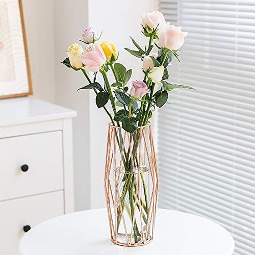 Gelible Vaso per Fiori in Vetro con Supporto per Rack in Metallo Geometrico, Centrotavola in Cristallo Trasparente, Vaso in Vetro per Terrari per Fiori Pianta Idroponica, Vaso Decorativo, Oro Rosa