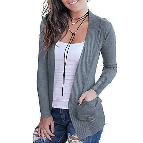 VOIANLIMO Womens Open Front Casual Long Sleeve Knit Classic Heather Gray Cardigan Sweaters with Pockets S Size