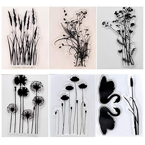 KWELLAM 6pcs/Lot Dandelion Lavender Flowers Leaves Mandarin Duck Stamp Rubber Clear Stamps for Photo Album Decorative Card Making and DIY Scrapbooking