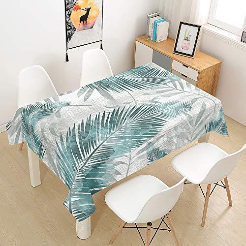 Hiser Mantel Antimanchas Rectangular para Mesa de Cocina o Salón, 3D Poliéster Impermeable Lavable Diseño Decoración Hogar Calor y Humedad Resistencia (Menta Verde,100x140cm)