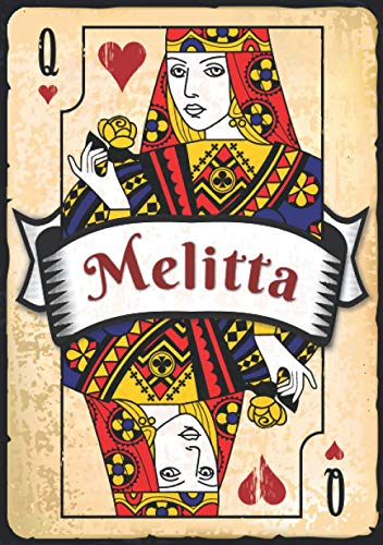 Melitta: Taccuino A5 | Nome personalizzato Melitta | Regalo di compleanno per moglie, mamma, sorella, figlia ... | Design: carte da gioco | 120 pagine a righe, piccolo formato A5 (14.8 x 21 cm)