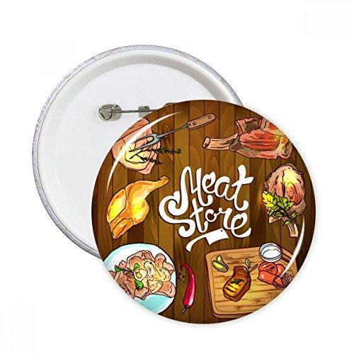DIYthinker Carne Tienda Botón Barbacoa filete redondo pernos insignia 5pcs regalo de...