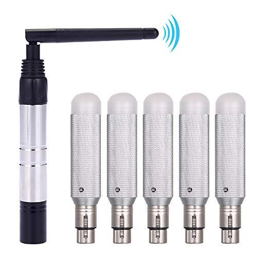 Galapara DMX Sender und Empfänger,2,4 G ISM DMX512 Wireless Transmitter + 5pcs Empfänger Eingebaute 800m Lange für Moving Heads Bühne Licht