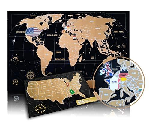 Weltkarte zum Rubbeln - Kronewerk - Englisch oder Deutsch - XXL 88x57cm + USA-Karte in A4, Kreatives Geschenk für Vielreisende, Scratch Off World Map, Landkarte zum Freirubbeln