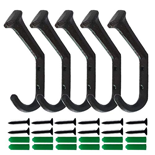 5 Pcs Cast Iron Coat Hooks for Wall Heavy Duty Rusty Nail Hooks for Hanging Coats Double Hooks Wall Mounted with 10 Screws for Keys, Towel, Bags, Scarf, Cup, Hat