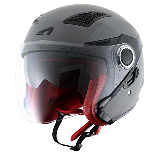 Astone Helmets fibra, Casco Jet, color Matt Gun Metal, talla S