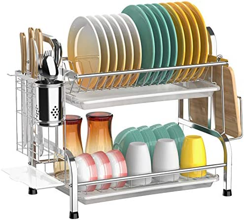 Dish Drying Rack Cambond 304 Stainless Steel 2 Tier Dish Rack with Drain Board Utensil Holder product image