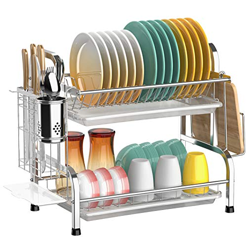 Dish Drying Rack Cambond 304 Stainless Steel 2 Tier Dish Rack with Drain Board Utensil Holder Cutting Board Holder Rustproof Dish Drainer for Kitchen Countertop Silver