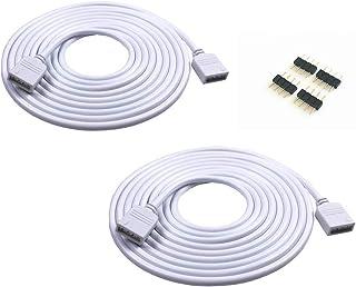 2 unidades de 5 m de cable de extensión RGB de 4 colores con conector de tira LED de 4 pines para tira de luz LED SMD 5050 3528 2835 RGB