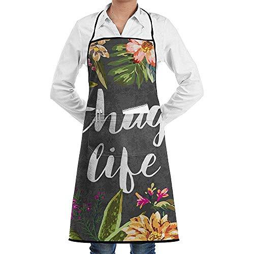 Katrine Store Thug Life Flowers verstellbare Latzschürze mit 2 Taschen, Kochen Küchenschürzen für Frauen Männer Chef