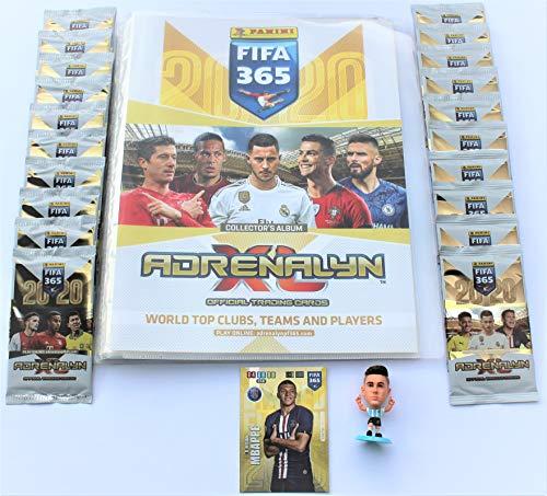 XL Panini Adrenalyn FIFA 365 2020 Sammelmappe + 20 Booster + Limited Edition Mbappe + Sammelfigur
