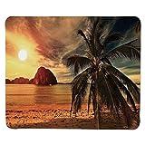 Yanteng Decoración oceánica, Havana Beach Sunny Tropics Montañas y Rocas Costura Decorativa Borde Antideslizante Caucho