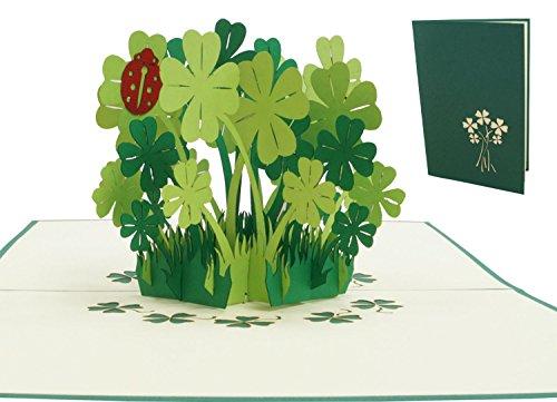 LIN17523, POP- UP Karten, POP UP Karten Geburtstag, 3D Grußkarten 3D Karte Klappkarte Geburtstagskarte Viel Glück Gute Besserung, Kleeblätter, N276