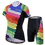 X-Labor – Juego de maillot de ciclismo para mujer, secado rápido, camiseta de manga corta + pantalones de ciclismo con acolchado de asiento, diseño multicolor, EU S (etiqueta: M)