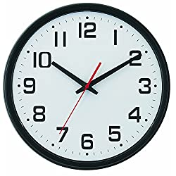 Tempus Wide Profile Wall Clock with Dual Electric/Battery Operation and Daylight Saving Time Auto-Adjust Movement, 13.75, Black