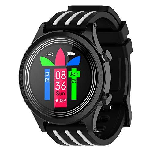 KYLN Smart Watch Hombres Mujeres Impermeable IP68 Smartwatch Pantalla meteorológica Ritmo cardíaco presión Arterial rastreador de Salud de la Sangre Reloj Deportivo-Blanco