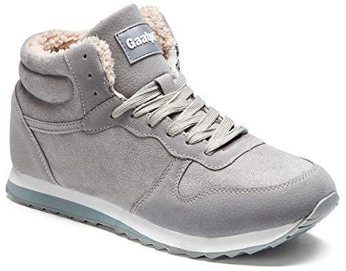 Gaatpot Herren Damen Winterschuhe Schneestiefel Winter Hohe Sneakers Warm gefütterte Leder Schnür Stiefel Boots Schuhe Grau EU 40.5 = CN 42
