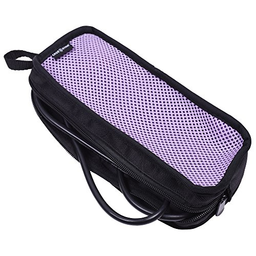 Cable Organizer Case Bag Portable Travel Computer Accessories Organizer Zipper Mesh Pouch for Laptop Mouse, Power Bank, USB, Adapter, Charger-Purple