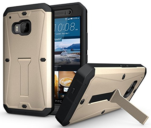 Heavy Duty Hybrid Armor Tank Stand Case with Built in Screen Protector for HTC ONE M9 (Gold)