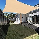 Ankuka Tenda a Vela 3m x 4m, Impermeabile Vele Parasole da Giardino Parasole Protezione Raggi UV Rettangolo con la Corda Libera, Sabbia
