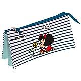 Mafalda 37540659 Colección Mafalda Estuche Escolar Triple, Modelo Marinera, 23.5 x 12 x 14