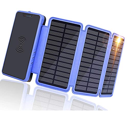 zyr Cargador Solar Inalámbrico Portátil Power Bank 20000Mah con 3 Paneles Solares Plegables, Paquete De Batería para Acampar Al Aire Libre Compatible con iPhone 11, Teléfono Android, Varios Modelos