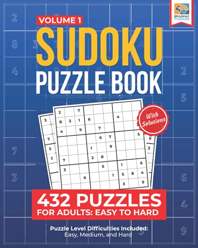 Sudoku Puzzle Book: 432 Puzzles for Adults: Easy to Hard