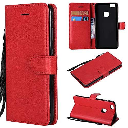 Funda de piel sintética con función atril y correa de muñeca compatible con Huawei P10 Lite. (color: rojo)