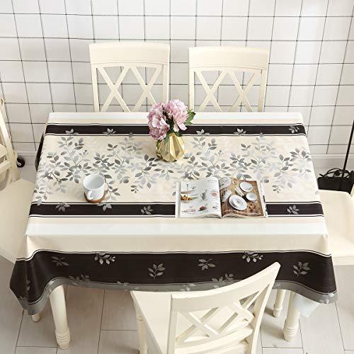 DARUITE Mantel Antimanchas, Impresiones Hojas Mantel PVC Plastico Mesa Rectangular Impermeable 137 x 185 cm de Comedor, Exterior, Cocina, Picnic