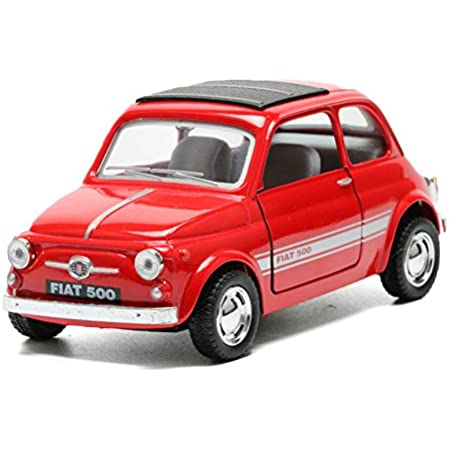 Kinsmart 1:24 Scale Fiat 500 Die-Cast Toy Car with Openable Doors and Pull Back Action