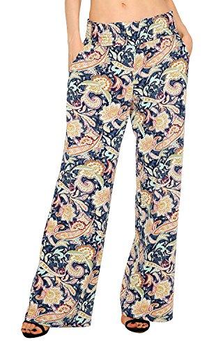 Urban GoCo Mujer Pantalón Palazzo de Pierna Ancha Casual Estampado Floral Baggy Pantalones (Small, 1)