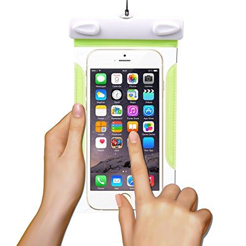 Sincewe Custodia Impermeabile Antiurto Snowproof con Pettine Antipolvere Pouch Bag con [IPX8 Certified], per iPhone 6/6S e altri cellulari di Apple & Android meno di 6 pollici-Verde