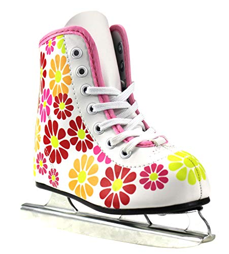 Girls American Double Runner Ice Skate,Flower Power,10