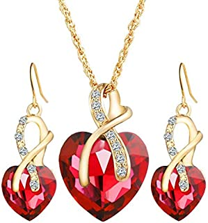 Gold plated set for women ring earrings and necklace adorned with crystal and pearl big heart shape,Red