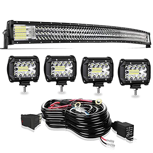 LED Light Bar TURBO SII 52 Inch 711W Curved Triple Row Spot Flood Combo Offroad...