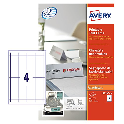 Avery L4794-10 Printable Place/Tent Cards, 4 Cards Per A4 Sheet