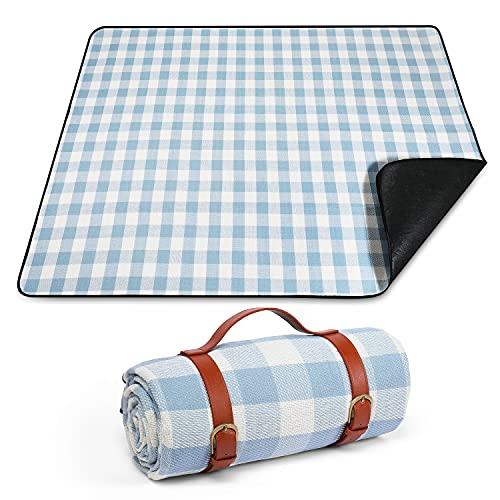 Purezento Picknick-Decken, Picknickdecke, wasserdichte Rückseite, große Picknickdecke, waschbar, tragbar, faltbar, Outdoor-Picknickdecke für Kinderspielplatz, Camping, nasses Gras – Blau kariert