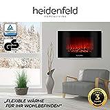Heidenfeld Wandkamin Elektrisch HF-WK100 mit Fernbedienung - 3 Jahre Garantie - 1000 oder 2000 Watt - Flammensimulation - Heizthermostat - Kaminofen Elektrokamin Kaminfeuer (WK100D Flach Holzoptik) - 5