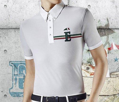 Equiline Poloshirt Herren Typ Sean Kurzarm mit Logo, Bianco, 40