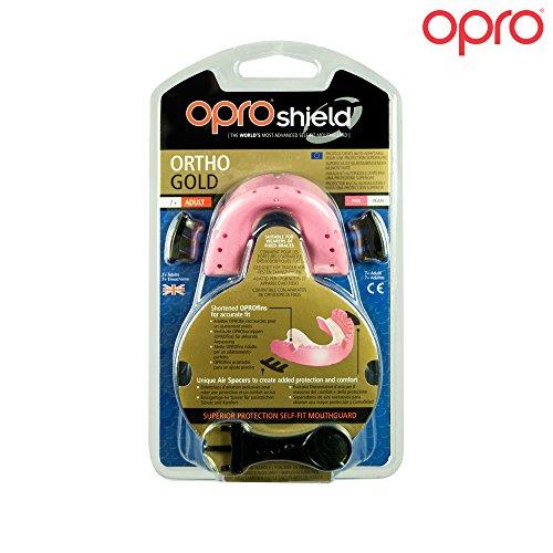 Opro Unisex's gouden beugels sport mondbescherming, roze, leeftijden 7+