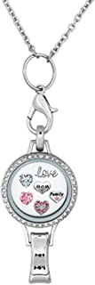 Q&Locket RN Love Mom Christmas Tree Snowflake Floating Charms in Glass Locket Lanyard Necklace ID Badge Holder