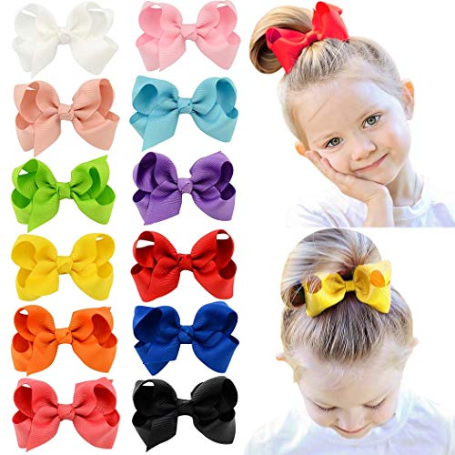 HLIN 12 Pcs 3' Grosgrain Ribbon Boutique Hair Bows Alligator Clips Hand Made for Baby Girls Toddlers Kids