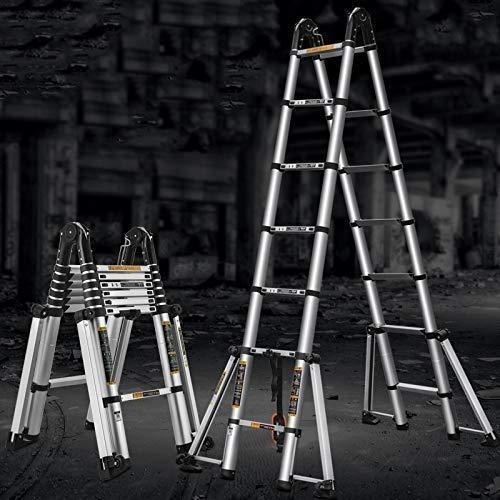 FJX Escalera de aluminio extra alta multipropósito de 5M / 16.5 pies, función de andamio plegable, pies antideslizantes