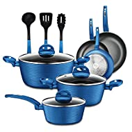 NutriChef - NCCW12BLU NutriChef Nonstick Kitchen Cookware Set - Professional Hard Anodized Home Kitchen Ware Pots and Pan Set, Blue